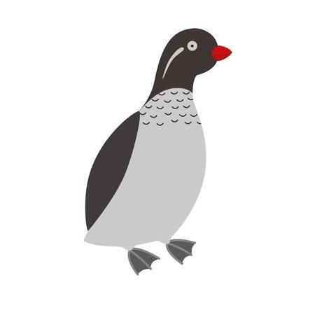 Illustration of a parakeet auklet bird
