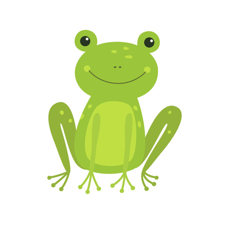 Cute Frog cartoon isolated on white