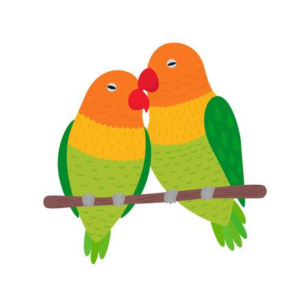 Illustratie van Lovebirds op een tak van een boom gelegen Stock Illustratie