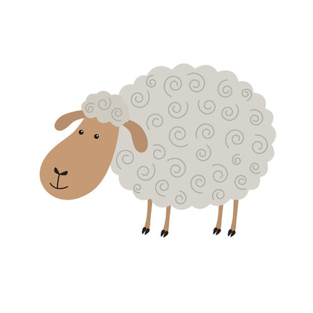 Cute sheep cartoon isolated on white background vector Illustration