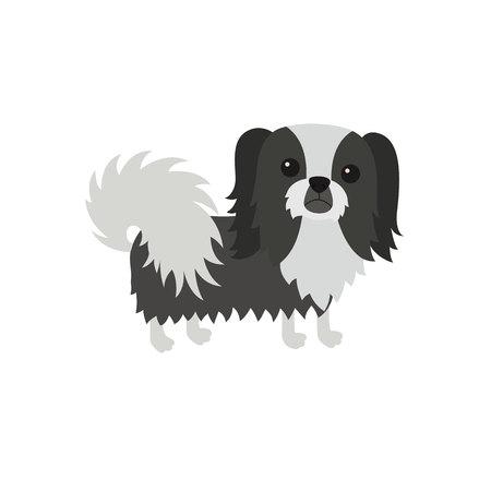 Dog Pekingese black white Illustration