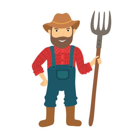 guy standing: Funny farmer character with a pitchfork