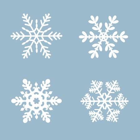 Snowflake vector icon background set white color. Winter blue christmas snow flat crystal element.