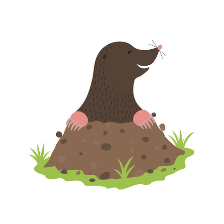 흙을 파다 흙 동물 만화 캐릭터 일러스트