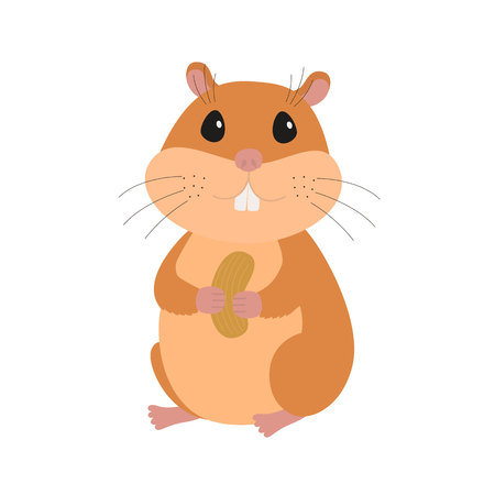 Cute hamster with a nut icon
