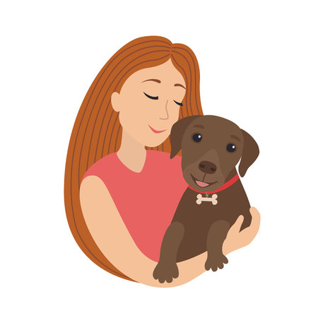 Vector cute cartoon smiling girl hug a puppy Labrador, woman hold in embrace her dog lovely pet illustration.