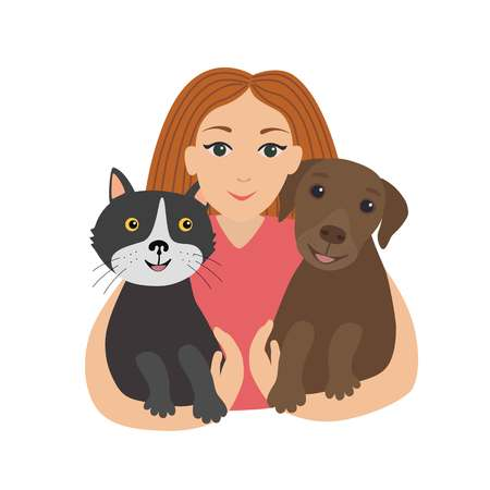 Happy little girl hugging her cat and dog.Children and pets. Flat vector illustration isolated on white background.