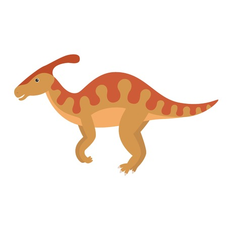 Vector illustration of cartoon dinosaur. Parasaurolophus
