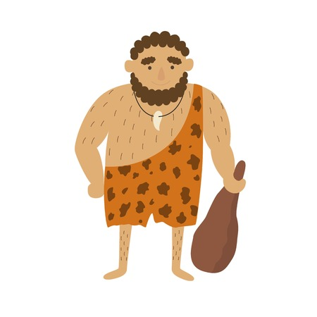 Stone age primitive man in animal hide pelt with big wooden club. Vectores