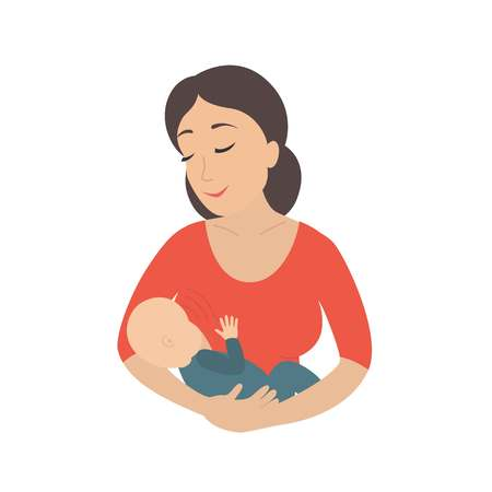 Circle icon depicting mother breastfeeding her young child