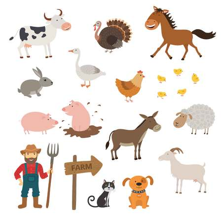 wooden horse: Cute Farm animals set in flat style isolated on white background. Cartoon farm animals. Stock Photo
