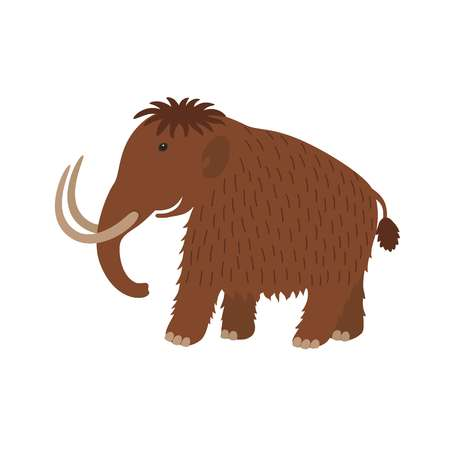 Happy mammoth icon in cartoon style.