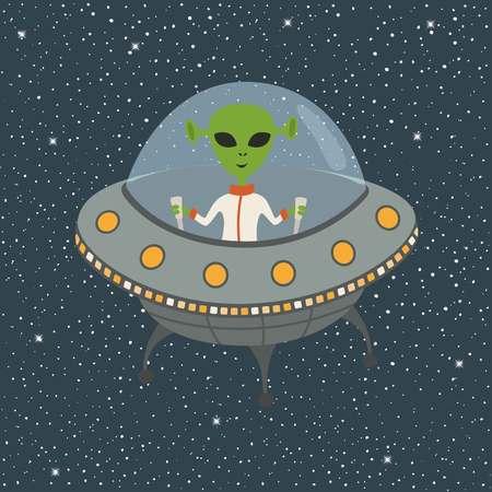 Cartoon Alien in Flying Saucer Vetores