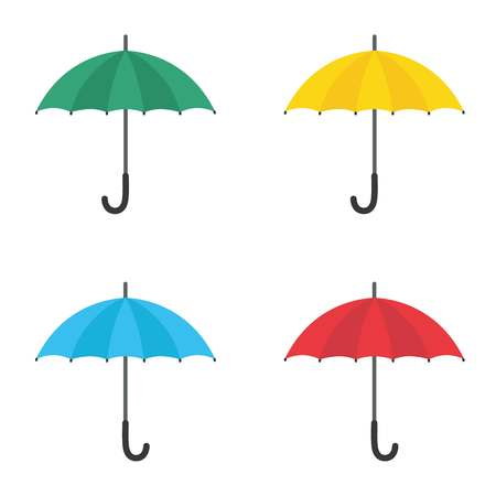 Set of umbrellas. Yellow, green, red and blue umbrellas. Vector flat icon isolated on white background