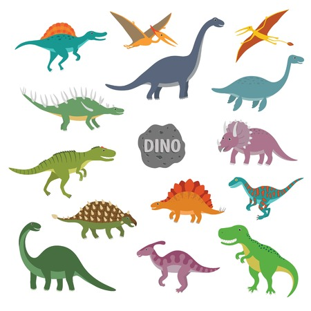 Vector illustration of colorful happy dinosaur character set Illustration