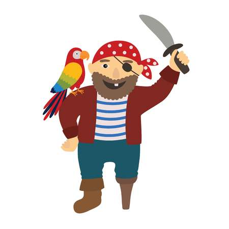 Cartoon pirate pirate with a parrot on his shoulder Illustration