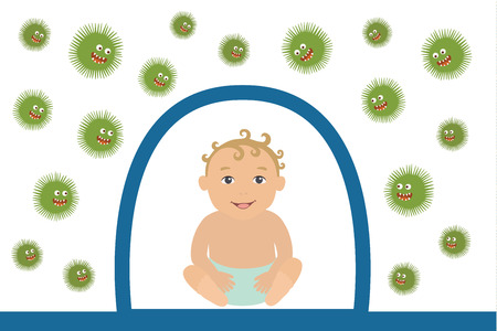 Vector Illustration of Baby Resisting Germs 向量圖像