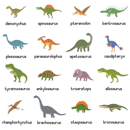 Vector collection of cute flat dinosaurs, including T-rex, Stegosaurus, Velociraptor, Pterodactyl, Brachiosaurus and Triceratop.