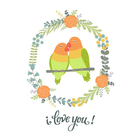 Beautiful greeting card with floral wreath. Bright illustration, can be used as creating card, invitation card for wedding,birthday and other holiday and cute summer background. card for Valentines day Illustration