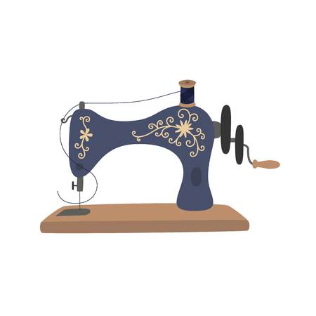 Vintage sewing machine with blue spool thread. Equipment for sew vogue clothes. Handmade