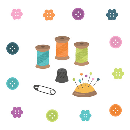 A vector illustration of a sewing kit isolated on plain background. Illustration