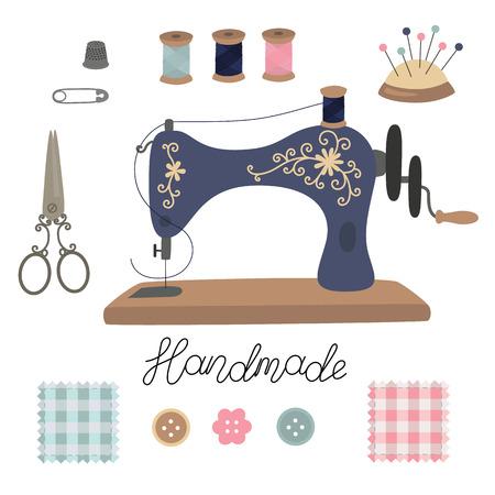 Kit de costura. Tijeras de herramientas de sastre vector vintage, máquina de coser, alfileres, dedal, botón, hilos de bobina, agujas, patchwork Letras hechas a mano.