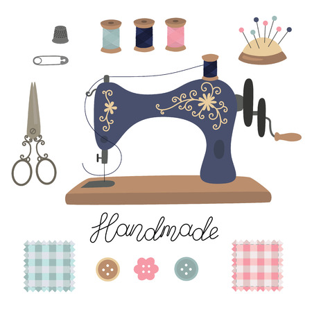 Sewing kit. Vintage vector tailors tools scissors, sewing machine, pins, thimble, button, coil threads, needles, patchwork. Lettering handmade.  イラスト・ベクター素材