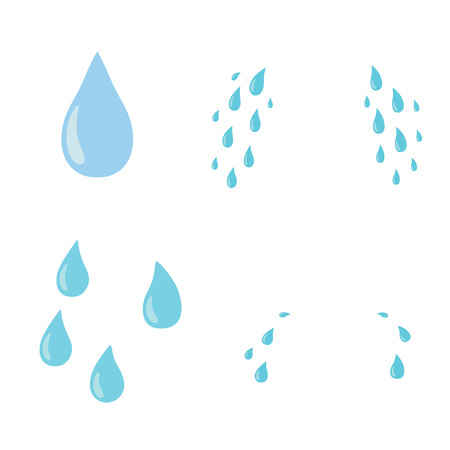 Tears set. Drop. Vector flat cartoon character icon design. Isolated on white background. Cry,tears concept Ilustração