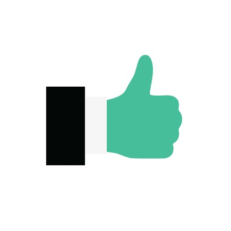 Hand Thumb Up icon flat. Illustration isolated on white background. Vector sign symbol Ilustração