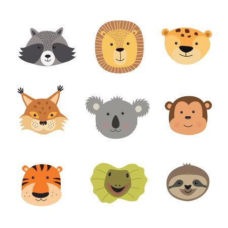 Ilustración de vector de caras de animales como tigre, león, jaguar, lagarto, perezoso, mono, koala, lince, mapache