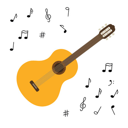 Vector illustration. Classical wooden guitar. String plucked musical instrument. Small acoustic guitar or ukulele. Rock or jazz equipment. Sticker with contour. Isolated on white background