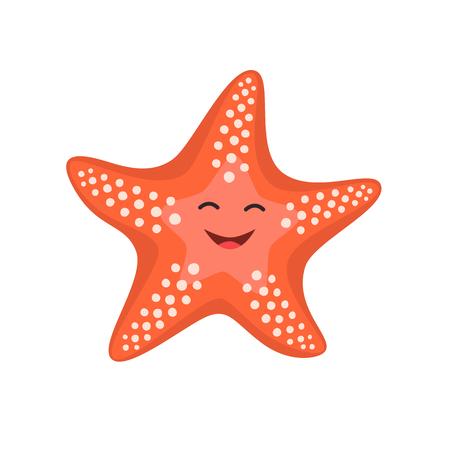 Estrella de mar feliz de dibujos animados. Ilustración vectorial para niños