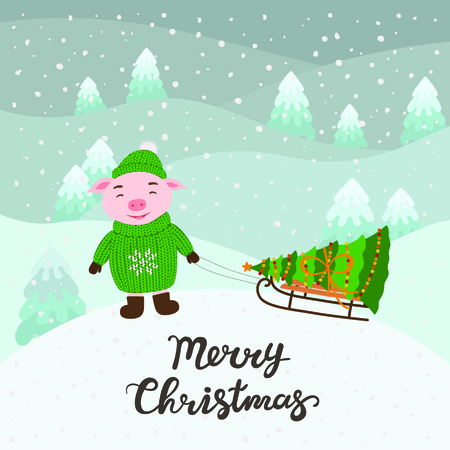 Merry Christmas and Happy New Year greeting card with pig, tree , snow, lettering, cartoon vector illustration.