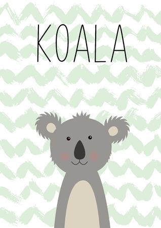 Cute koala. Vector illustration. Card for children. Poster for the children s room