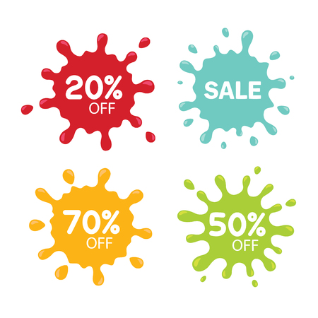 Different sale tags isolated on white. Blot concept. Special offer splash. Discount Sale Splashes. Vector illustration. Çizim