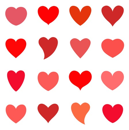 Hearts icon set. Valentine simbol. Vector illustration on white isolated background