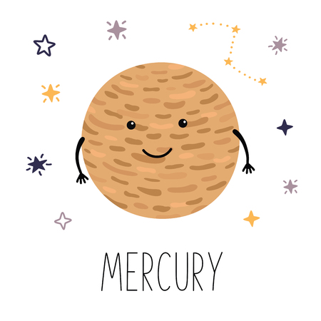 Cute planet Mercury. Planet with hands and eyes. Vector illustration for children on white isolated background . Cute print for baby products.