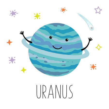 Planeta Urano de dibujos animados. Ilustración de vector aislado sobre fondo blanco. Impresión linda para productos para bebés. Ilustración de vector