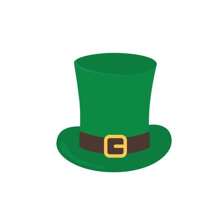 The hat is a top hat with a strap and a golden buckle. Leprechaun hat. Symbols of St. Patrick s Day, Irish mythology, Celtic holidays. Attributes of the holiday of St. Patrick s Day. Hat isolate Stok Fotoğraf - 126532052