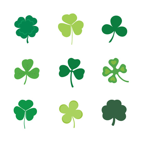 Set of Four and Three Leaf Clover, stock vector illustration Ilustracja