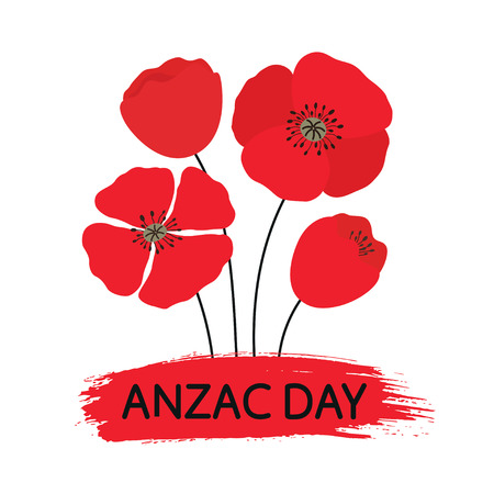 ANZAC DAY. Australia New Zealand Army Corps. Bouquet of poppy flowers. Vector illustration on white isolated background