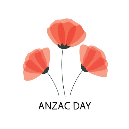 Anzac Day vector poster. Lest We forget. Paper cut Red Poppy flower - a symbol of International Day of Remembrance. Vector Illustration EPS 10 file.