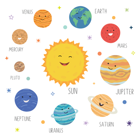 Vector illustration of cute cartoon solar system on white isolated background. Cute planets with funny smiling faces. Solar system with cute cartoon planets. Funny universe for kids , sun, pluto, mars, mercury, earth, venus, jupiter, saturn, uranus, neptune. Hand drawn design print, poster