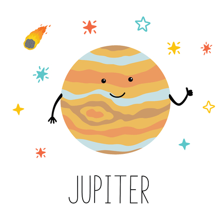 Vector cartoon funny illustration of planet smiling happy Jupiter in cartoon style on space star sky. Poster for children room, education. Hand drawn lettering name Ilustracja