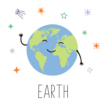 Cute planet Earth. Planet with hands and eyes. Vector illustration for children on white isolated background . Cute print for baby products.