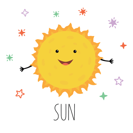 Cute Sun. Vector illustration for children on white isolated background . Cute print for baby products.