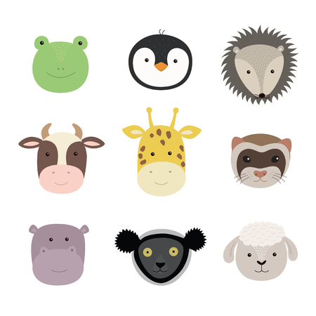 Set of cute funny animals frog, sheep, cow, giraffe, weasel, hippo, hedgehog, penguin, indri. Isolated objects on white . Vector illustration. Scandinavian style flat design Concept children print