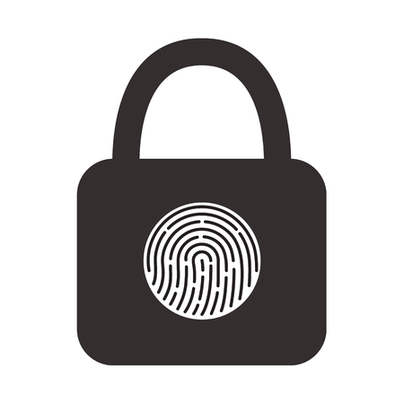 Icon of a hinged lock with a fingerprint scanner for its opening. Vector illustration on white isolated background.
