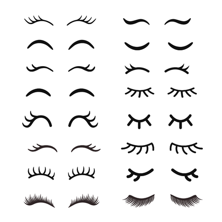 Set of cute cartoon eyelashes. Open and closed hand drawing eyes. Isolated on white. Ilustracja