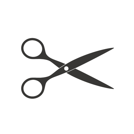 Scissors icon vector illustration. Cut concept with open scissors. Utensil or hairdresser symbol Ilustracja